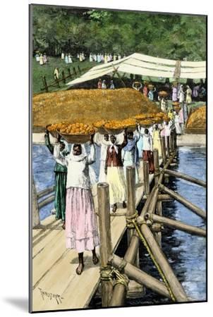 Women Loading Oranges on a Ship at San Antonio, Paraguay, c.1890--Mounted Giclee Print