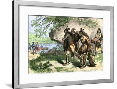 Native Americans Bringing Beaver Pelts to White Traders--Framed Giclee Print
