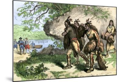 Native Americans Bringing Beaver Pelts to White Traders--Mounted Giclee Print