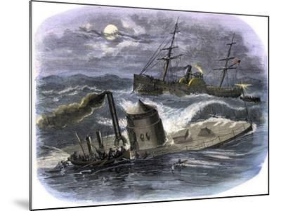 Sinking of the Ironclad USS Monitor in a Gale Off North Carolina, c.1862--Mounted Giclee Print