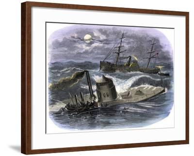Sinking of the Ironclad USS Monitor in a Gale Off North Carolina, c.1862--Framed Giclee Print