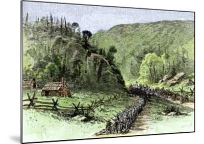 General James Longstreet's March through Thoroughfare Gap at the Second Battle of Bull Run, c.1862--Mounted Giclee Print