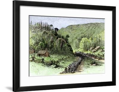 General James Longstreet's March through Thoroughfare Gap at the Second Battle of Bull Run, c.1862--Framed Giclee Print
