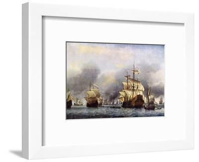 Sea Fight Between England and Holland during the Dutch War, June 1666--Framed Premium Giclee Print
