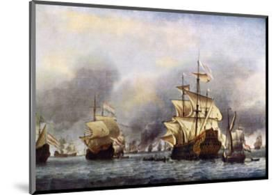Sea Fight Between England and Holland during the Dutch War, June 1666--Mounted Premium Giclee Print