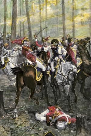 Combat during the Battle of Cowpens, c.1781--Stretched Canvas Print