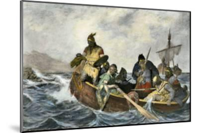 Leif Erikssen Off the Coast of Vineland in a Viking Landing Boat--Mounted Giclee Print