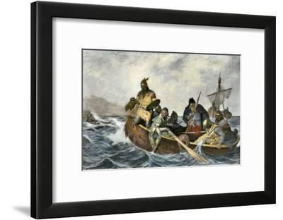 Leif Erikssen Off the Coast of Vineland in a Viking Landing Boat--Framed Giclee Print