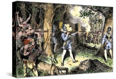 Samuel de Champlain and His Huron Indian Allies Fighting the Iroquois Near Lake Champlain, c.1609--Stretched Canvas Print