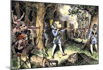 Samuel de Champlain and His Huron Indian Allies Fighting the Iroquois Near Lake Champlain, c.1609--Mounted Giclee Print