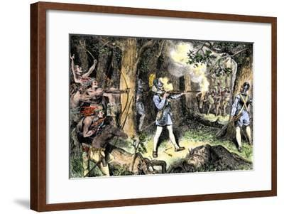 Samuel de Champlain and His Huron Indian Allies Fighting the Iroquois Near Lake Champlain, c.1609--Framed Giclee Print