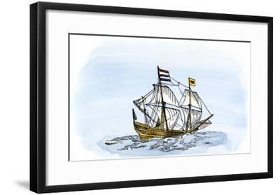 One of Henry Hudson's Ships, 17th Century--Framed Giclee Print