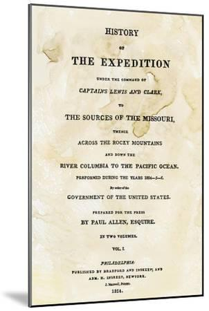 Title Page of the First Publication of Lewis and Clark's Journal and Notes, c.1814--Mounted Giclee Print