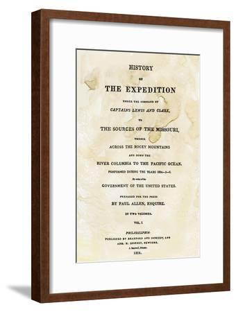 Title Page of the First Publication of Lewis and Clark's Journal and Notes, c.1814--Framed Giclee Print