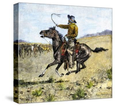 Cowhand Rounding Up Cattle Mixed in with the Horse Herd--Stretched Canvas Print