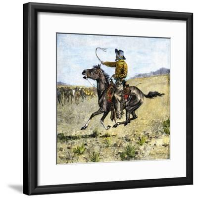 Cowhand Rounding Up Cattle Mixed in with the Horse Herd--Framed Giclee Print