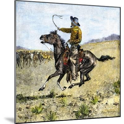 Cowhand Rounding Up Cattle Mixed in with the Horse Herd--Mounted Giclee Print