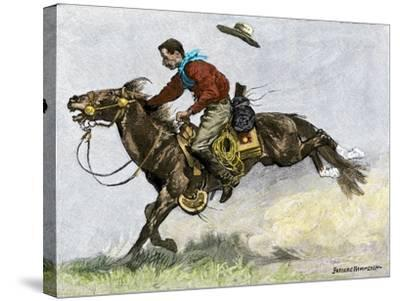Cowboy Riding a Newly Trained Horse--Stretched Canvas Print