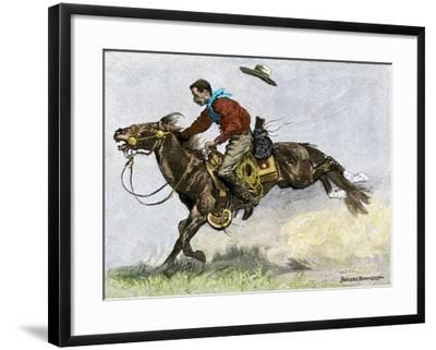 Cowboy Riding a Newly Trained Horse--Framed Giclee Print