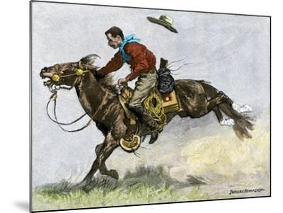 Cowboy Riding a Newly Trained Horse--Mounted Giclee Print