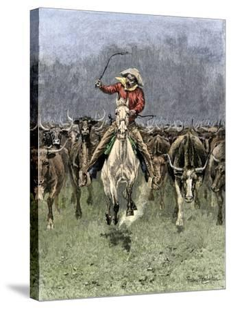 Cowboy and His Horse Caught in a Cattle Stampede, c.1800--Stretched Canvas Print