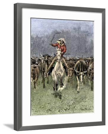 Cowboy and His Horse Caught in a Cattle Stampede, c.1800--Framed Giclee Print