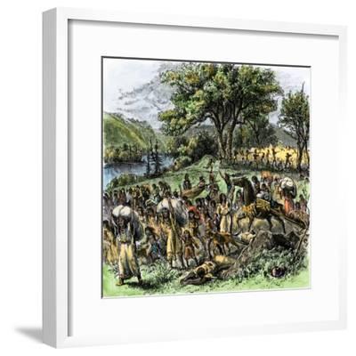 Battle of Bad Axe in Wisconsin, Ending the Black Hawk War, c.1832--Framed Giclee Print