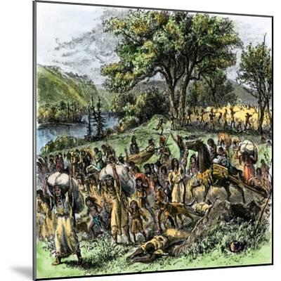 Battle of Bad Axe in Wisconsin, Ending the Black Hawk War, c.1832--Mounted Giclee Print