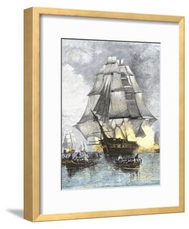 USS Constitution Being Towed in Rowboats Away from the Becalmed British Navy, War of 1812--Framed Giclee Print