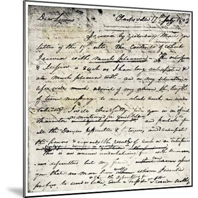 William Clark's Letter Accepting Lewis's Invitation to Join the Corps of Discovery Expedition--Mounted Giclee Print