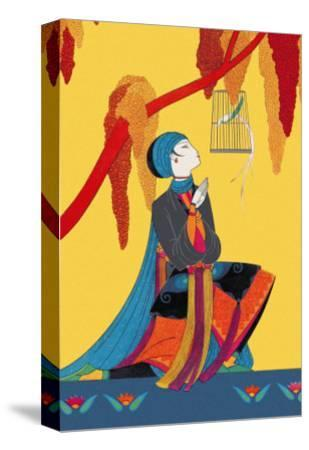 Bird and Kneeling Girl--Stretched Canvas Print