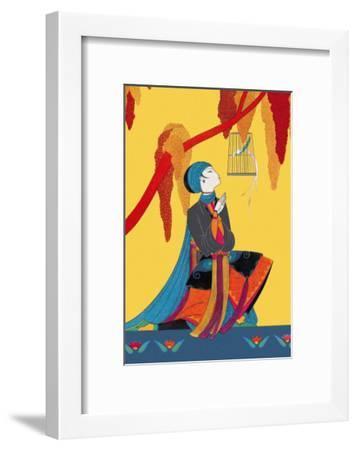 Bird and Kneeling Girl--Framed Art Print