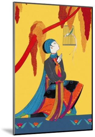 Bird and Kneeling Girl--Mounted Art Print