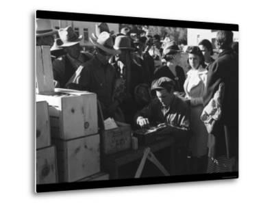 Distributing Surplus Commodities-Russell Lee-Metal Print
