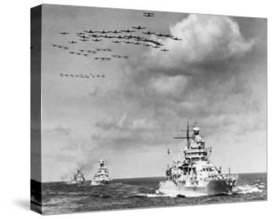 The Fleet, The U.S. Navy Sailing to Victory--Stretched Canvas Print