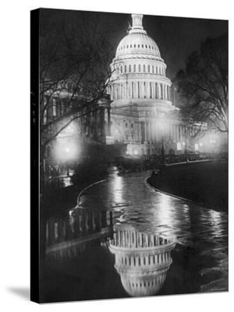 The U.S. Capitol Builing in a Light Night Rain--Stretched Canvas Print