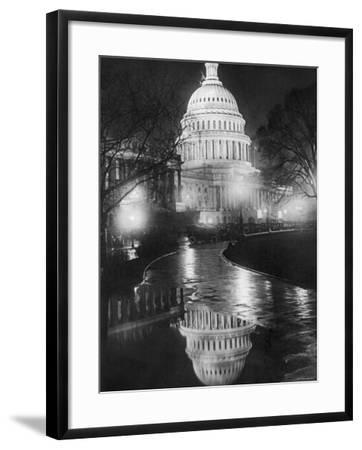 The U.S. Capitol Builing in a Light Night Rain--Framed Photo