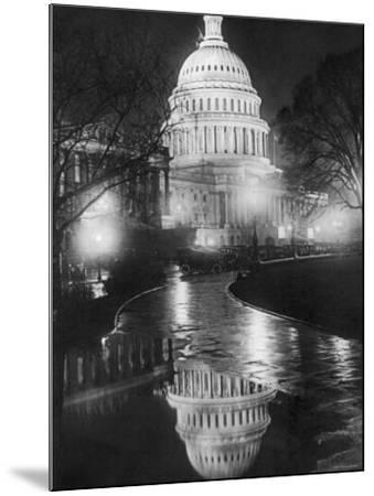 The U.S. Capitol Builing in a Light Night Rain--Mounted Photo
