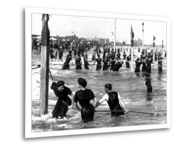 Coney Island Surf Crowd-William H. Rau-Metal Print