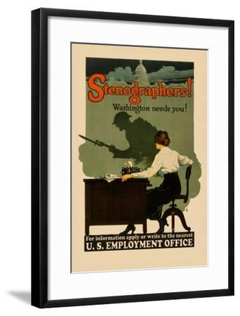 Stenographers! Washington Needs You!- Sill-Framed Art Print