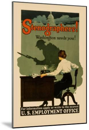 Stenographers! Washington Needs You!- Sill-Mounted Art Print