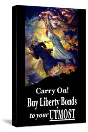 Carry On! Buy Liberty Bonds to Your Utmost-Edwin Howland Blashfield-Stretched Canvas Print