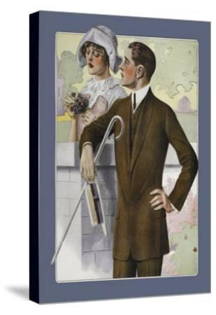 Dapper Man and Maudlin Girl--Stretched Canvas Print