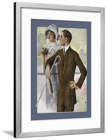 Dapper Man and Maudlin Girl--Framed Art Print