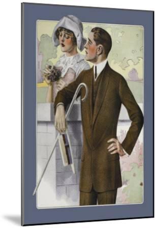Dapper Man and Maudlin Girl--Mounted Art Print