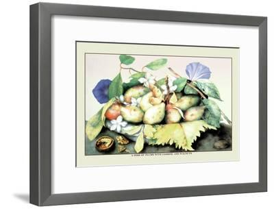 Dish of Plums with Jasmine and Walnuts-Giovanna Garzoni-Framed Art Print