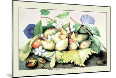 Dish of Plums with Jasmine and Walnuts-Giovanna Garzoni-Mounted Art Print