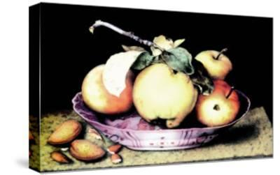 Dish with Apples and Almonds-Giovanna Garzoni-Stretched Canvas Print