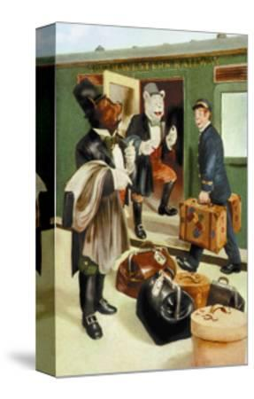 Teddy Roosevelt's Bears: Teddy B and Teddy G Riding Trains-R.k. Culver-Stretched Canvas Print