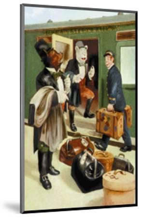 Teddy Roosevelt's Bears: Teddy B and Teddy G Riding Trains-R.k. Culver-Mounted Art Print